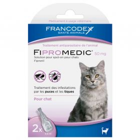 Francodex - Traitement Antiparasitaire Spot-On 50mg Fipromedic pour Chat - 2x0,5ml