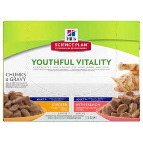 Hill's Science Plan - Sachets Youthful Vitality 7+ Poulet et Saumon pour Chat Adulte - 12x85g