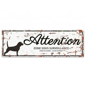 D&D - Plaque Attention au Chien avec Beagle - Blanc