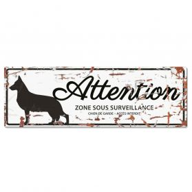 D&D - Plaque Attention au Chien avec Berger Allemand - Blanc