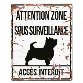 D&D - Plaque Attention au Chien avec Terrier - Blanc