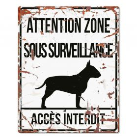 D&D - Plaque Attention au Chien avec Bull Terrier - Blanc