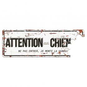 D&D - Plaque Attention au Chien Grey - Blanc