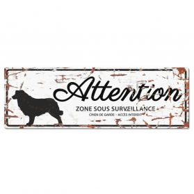 D&D - Plaque Attention au Chien avec Border Collie - Blanc