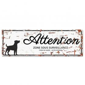 D&D - Plaque Attention au Chien avec Jack Russell Terrier - Blanc