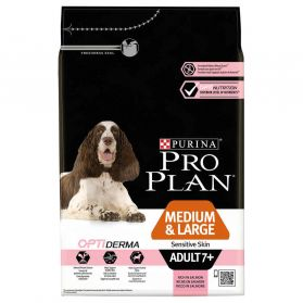 Pro Plan - Croquettes OPTIDERMA Medium & Large Adult 7+ Sensitive Skin Saumon pour Chien Senior - 3Kg
