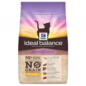 Hill's - Croquettes Ideal Balance No Grain Mature au Poulet pour Chats - 1,5Kg