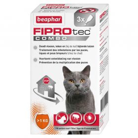 Beaphar - Pipettes Anti-tiques Fiprotec Combo pour Chat - x3