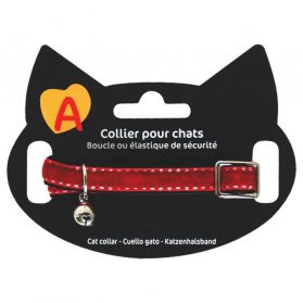 Animalis - Collier Velour pour Chat - Rouge