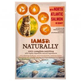 IAMS Naturally - Pochon Saumon d'Atlantique en Sauce pour Chat - 85g