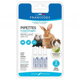 Francodex - Pipettes Insectifuges pour Lapin Furet et Cobaye - 3x0,4ml