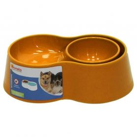 Animalis - Gamelle Double Anti-fourmis pour Chien et Chat - Orange