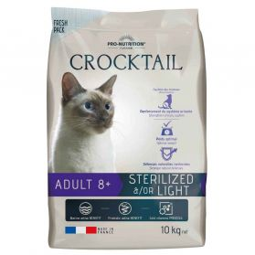Flatazor - Croquettes CROCKTAIL 8+ Sterilized Light pour Chat - 10Kg