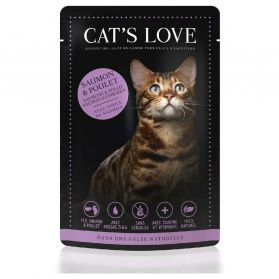 Cat's Love - Menu 100% Naturel au Saumon et Poulet pour Chats - 85g