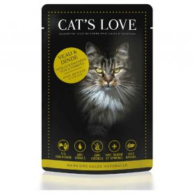 Cat's Love - Menu 100% Naturel au Veau et Dinde pour Chats - 85g