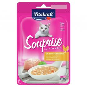 Vitakraft - Souprise Liquid Snack Filet de Poulet pour Chat - 4x20g
