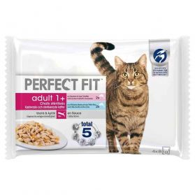 Perfect Fit - Filet en Sauce Adult 1+ aux Poissons pour Chat Stérilisé - 4x85g