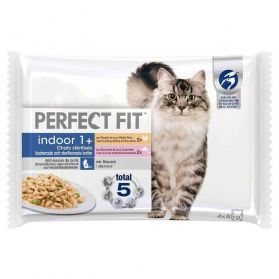 Perfect Fit - Filet en Sauce Indoor 1+ Poulet Saumon pour Chat Stérilisé - 4x85g