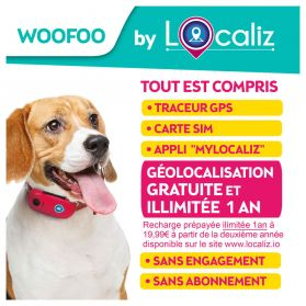 LOCALIZ - Traceur GPS Woofoo pour Chien - Rose