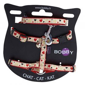 Bobby - Harnais + Laisse Chat Lovely rouge XS