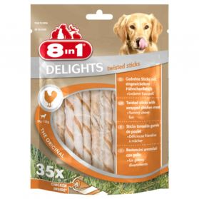8in1 - Friandises Twisted Delights Sticks Poulet pour Chien - x35
