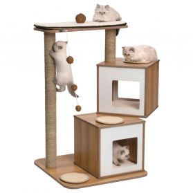 Vesper - Arbre à Chat Double en Noyer pour Chat