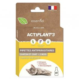 ActiPlant'3 - Pipettes Insectifuges Antiparasitaire pour Chat et Chaton - 3x0,6ml