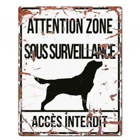 D&D - Plaque Attention au Chien avec Golden Retriever - Blanc