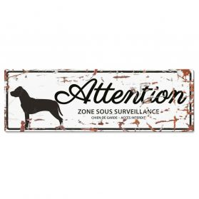 D&D - Plaque Attention au Chien avec Stafford - Blanc