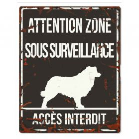 D&D - Plaque Attention au Chien avec Border Collie - Noir