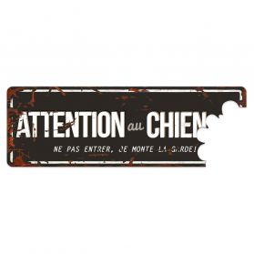 D&D - Plaque Attention au Chien Grey - Noir