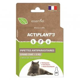 ActiPlant'3 - Pipettes Antiparasitaire pour Grand Chat - 3x1ml
