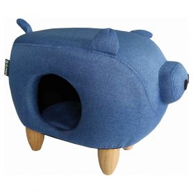 Sömn - Pig Collection Blue Canvas pour Chat - Bleu