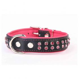Kacpadi - Collier Cuir Skóra Crystal T52 40/48 pour Chien - Rose