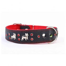 Kacpadi - Collier Cuir French Bulldog T45 30/41cm pour Chien - Rouge