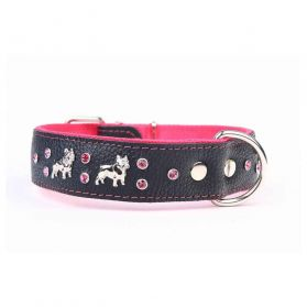 Yogipet - Collier Cuir French Bulldog T45 30/41cm pour Chien - Rose