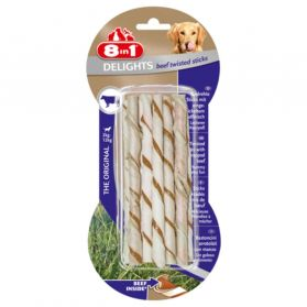 8in1 - Friandises Twisted Delights Sticks Boeuf pour Chien - x10