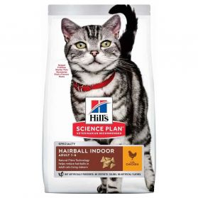 Hill's - Feline Hairball Indoor Adult Poulet pour Chat - 1,5Kg