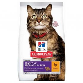 Hill's - Feline Sensitive Stomach & Skin Poulet pour Chat - 7Kg