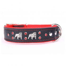 Yogipet - Collier Bulldog Cuir Crystal pour Chien - Rouge