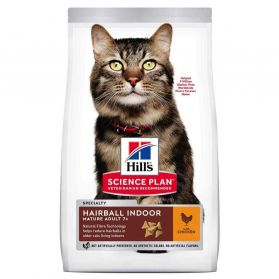 Hill's Science Plan - Croquettes Mature Adult 7+ Hairball Indoor Poulet pour Chat - 2,5Kg