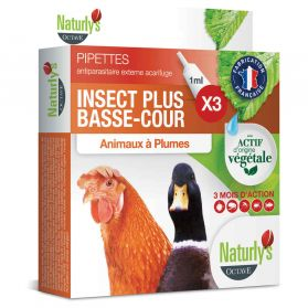 Naturly's Octave - Pipettes Antiparasitaire Insect Plus pour Basse-cour - 3x1ml