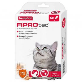 Beaphar - Pipettes Antiparasitaires Fiprotec pour Chat - X6