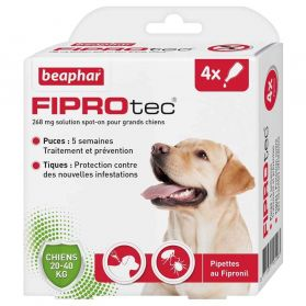 Beaphar - Pipettes Antiparasitaires Fiprotec pour Grand Chien - X4