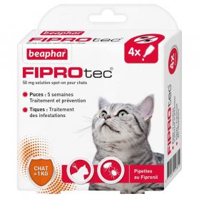 Beaphar - Pipettes Antiparasitaires Fiprotec pour Chat - X4